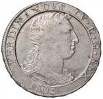Italian coins;NAPOLI Ferdinando IV (1759-1816) Piastra 1805 - Magliocca 392 AG (g 27.40) Graffietti