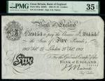 Bank of England, John Nairne (1902-1918), 5, London, 27 February 1907, serial number 47/J 39153, bla