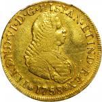 COLOMBIA. 1758-J 4 Escudos. Popayán mint. Ferdinand VI (1746-1759). Restrepo M22.2. EF Detail — Clea