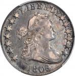 1806/5 Draped Bust Half Dollar. O-101, T-6. Rarity-3. Large Stars. VF-30 (PCGS).