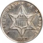 1867 Silver Three-Cent Piece. MS-63 (PCGS).
