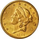1861 Liberty Head Double Eagle. Unc Details--Cleaned (PCGS).
