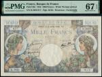 Banque de France, Commerce et Industrie, 1000 francs, 6 July 1944, serial numbers H.3620 817, blue a