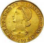 ECUADOR. 1840-MVA 8 Escudos. Quito mint. KM-23.1. MS-62 (PCGS).