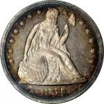 1854 Liberty Seated Silver Dollar. Proof-65 Cameo (PCGS).