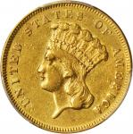 1855 Three-Dollar Gold Piece. EF-45 (PCGS).