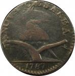 1787 New Jersey copper. Maris 70-x. Rarity-7-. Plaited Mane. Overstruck on an unidentifiable underty
