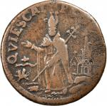 Undated (Circa 1663-1672) St. Patrick Farthing. Breen-212, W-11500. Copper. Sea Beasts Below King, M