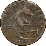 1788 New Jersey copper. Maris 77-dd (DS3) i.e. 78-dd. Rarity-2. Running Fox. AU-50 (PCGS).