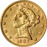 1883-CC Liberty Head Half Eagle. AU-50 (PCGS).
