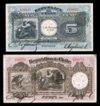Chile. A small group comprising 2 pesos, 1920, blue and brown, 2 pesos, 1925, blue and yellow, 5 pes
