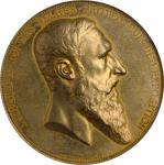 1885年比利时镀青铜世界博览会安特卫普勳章。利奥波德二世。BELGIUM. Universal Exposition at Antwerp Gilt Bronze Medal, 1885. NGC