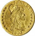 1803/2 Capped Bust Right Half Eagle. BD-4. Rarity-4. Perfect T, 3 Touches Bust. AU-53 (PCGS).