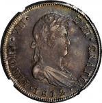 CHILE. 8 Reales, 1812-So FJ. Santiago Mint. Ferdinand VII. NGC AU Details--Obverse Scratched.