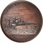 1846 Loss of the Brig Somers Medal. Bronze. 57.5 mm. By Charles Cushing Wright. Julian NA-24. About