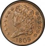 1809 Classic Head Half Cent. Cohen-6, Breen-6. Rarity-1. Mint State-65+ BN (PCGS).