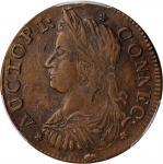 1787 Connecticut Copper. Miller 42-kk.2, W-4245. Rarity-5-. Draped Bust Left, AUCTOPI / ETIIB. AU-53