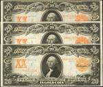 Lot of (3) Fr. 1181 & 1185. $20 1906 Gold Certificates. Very Fine.