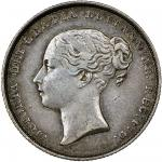 Victoria (1837-1901), Shilling, 1850 over 49, second young head left, rev. crown over value in wreat