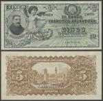 El Banco Francisco Argandona, Bolivia, specimen 5 Bolivianos, 1898, serial number C 00000/C 99999, d