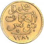 TUNISIE Mohamed el-Sadik Bey (1859-1882). 5 piastres Or AH 1281 (1864), Tunis.