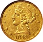 1848-C Liberty Head Half Eagle. Winter-1, the only known dies. AU-53 (NGC).