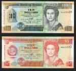 BELIZE, Central Bank of Belize, $5, red, $10, black, both 1 March 1996, $20, brown, 1 June 1997, $10