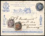 1893年英国克拉斯科寄德国汉诺威便士邮政50年纪念邮资封1件,揭帖英国邮票2枚,销克拉斯科10月30日戳,有汉诺威11月1日到达戳,保存完好,可做各类专题邮集素材使用,此封加贴邮票及国外不多见。 F