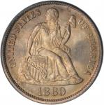 1880 Liberty Seated Dime. Fortin-102a. Rarity-4. MS-66 (PCGS). CAC--Gold Label.