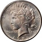 1921 Peace Silver Dollar. High Relief. MS-65+ (PCGS). CAC.