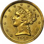 1840-D Liberty Half Eagle. Tall D. AU-58+ (PCGS).