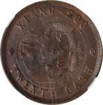 丁未户部宁字大清铜币二十文。