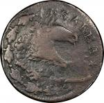 1787 New Jersey copper. Maris 73-aa. Rarity-4. Plaited Mane. Overstruck on Spain 4 maravedis of Carl