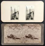 1900年代广州立体照片两件; 窄道与塔及乞丐,保存良好