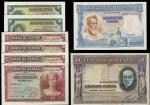 El Banco de Espana, 5 pesetas (2), silver certificates, 1935, green, 10 pesetas (4), 1935, purple, 2