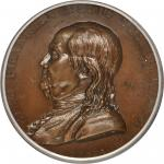 1784 (ca. 1846-1860) Benjamin Franklin Natus Boston Medal. Paris Mint Restrike. Bronze. 46 mm. Green