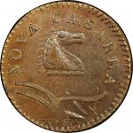 1786 New Jersey copper. Maris 23-R. Rarity-3. Narrow Shield, Curved Plow Beam. AU-58 (PCGS).