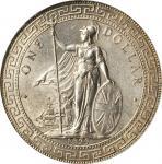 1929/1-B年英国贸易银元站洋一圆银币。孟买铸币厂。GREAT BRITAIN. Trade Dollar, 1929/1-B. Bombay Mint. PCGS MS-63+ Gold Shi