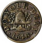 Non-Local. 1846 Do Your Duty. Rulau-Y4. Brass. Plain Edge. 18 mm. EF-45 (PCGS).