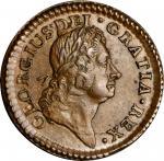 1723 Wood's Hibernia Farthing. Martin 3.5-Bc.6, W-12530. Rarity-5. G over A in GEORGIUS, DEI.GRATIA