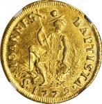 ITALY. Tuscany. Ruspone (3 Zecchini), 1772. Pietro Leopoldo (1765-90). NGC AU-55.