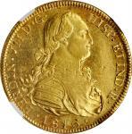 CHILE. 8 Escudos, 1816-So FJ. Santiago Mint. Ferdinand VII. NGC AU-55.