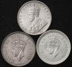 INDIA British India イギリス领インド Rupee 1919,40,42 返品不可 要下见 Sold as is No returns EF~UNC