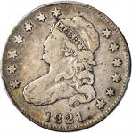 1821 Capped Bust Quarter. B-3. Rarity-3. Fine-12 (PCGS).
