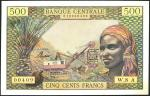 Equatorial African States, 500 francs, Chad, ND (1963), serial number W.8 A 000409, (Pick 4e, TBB B2