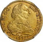 GUATEMALA. 8 Escudos, 1778-NG P. Nueva Guatemala Mint. Charles III. NGC AU-50.