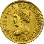 COLOMBIA. Peso, 1825-JF. Bogota Mint. PCGS Genuine--Scratch, Unc Details Gold Shield.