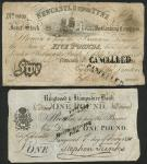 x Newcastle upon Tyne, Joint Stock Banking Company, 5 Pounds, July 1 1840, serial number 8839, black