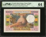 FRENCH AFARS & ISSAS. Tresor Public. 1000 Francs, ND (1947). P-32. PMG Choice Uncirculated 64.