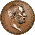 1865 (Post-1886) Abraham Lincoln Presidential Medal. Bronzed Copper. 77 mm. By George. T. Morgan. Ju